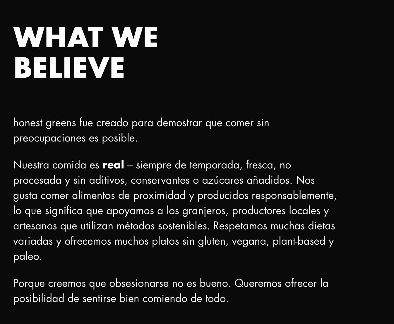 valores honest greens